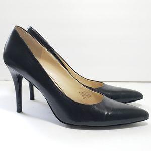 Nine West Black Leather Pumps Heels